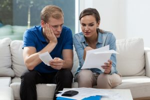 horizontal view of marriage analyzing family budget